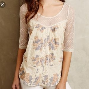 M Anthro Meadow Rue Anja Cream Polka Dot Lace Top
